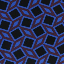 Tissu Crêpe graphique bleu roy x 10cm