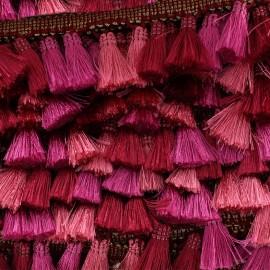 Trimming ribbon fringe pompoms Puebla - fuchsia x 50cm