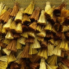 Trimming ribbon fringe pompoms Puebla - gold x 50cm