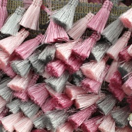 Ruban galon pompons à franges Puebla - gris/rose x 50cm