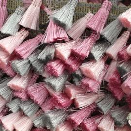 Trimming ribbon fringe pompoms Puebla - pink/grey x 50cm