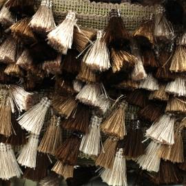 Ruban galon pompons à franges Puebla - marron x 50cm