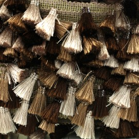 Trimming ribbon fringe pompoms Puebla - brown x 50cm