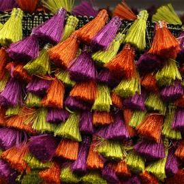 Ruban galon pompons à franges Puebla - doré x 50cm