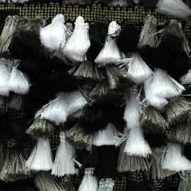 Trimming ribbon fringe pompoms Puebla - steel x 50cm
