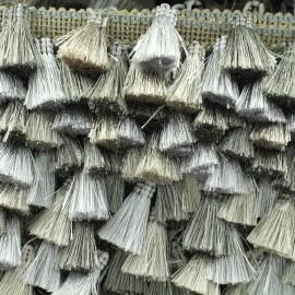 Trimming ribbon fringe pompoms Puebla - silver/steel x 50cm