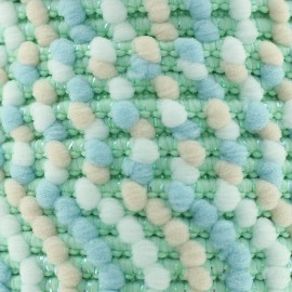 Lurex pompom braid trimming 11 mm - Douceur bleue x 1m