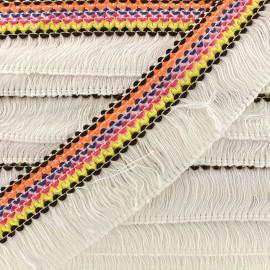 Fringe trimming ribbon Mérida 45mm multi - white x 50cm