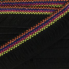 Ruban galon franges Mérida 45mm multi - noir x 50cm