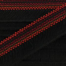 Ruban galon franges Mérida 45mm marron - noir x 50cm