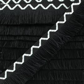 Fringe trimming ribbon Chevron 30mm - black x 50cm