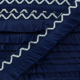 Fringe trimming ribbon Chevron 30mm - navy x 50cm