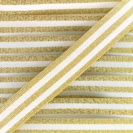 Galon rayures lurex 15 mm - doré/blanc x 1m