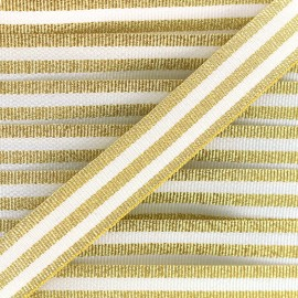 Lurex stripes braid ribbon - gold/white x 1m
