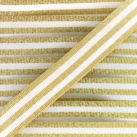 Lurex stripes braid ribbon - gold/white x 1m