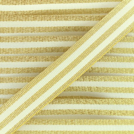 Galon rayures lurex 15 mm - doré/écru x 1m