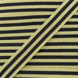 Lurex stripes braid ribbon - black/gold x 1m