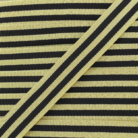 Galon rayures lurex 15 mm - noir/doré x 1m
