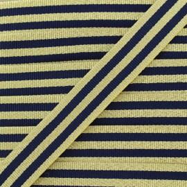 Lurex stripes braid ribbon - navy/gold x 1m