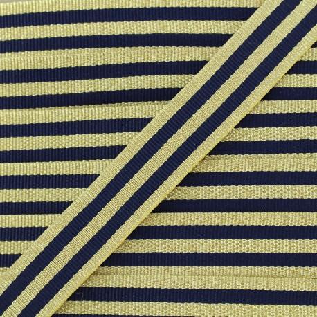 Galon rayures lurex 15 mm - marine/doré x 1m