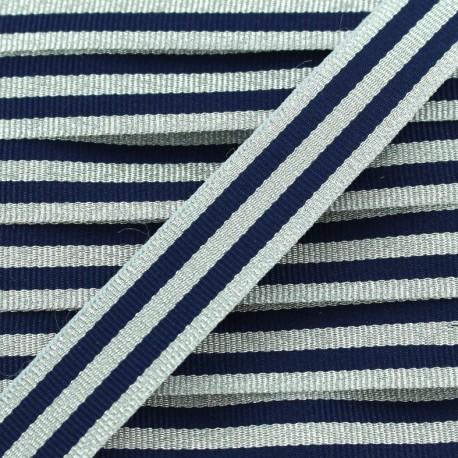 Lurex stripes braid ribbon - silver/navy x 1m