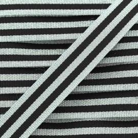 Lurex stripes braid ribbon - silver/black x 1m