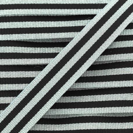 Galon rayures lurex 15 mm - argent/noir x 1m