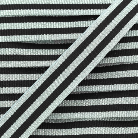 Lurex stripes braid ribbon - silver/black x 1m