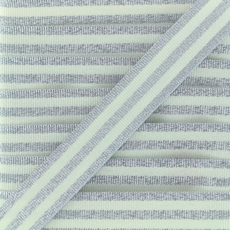 Lurex stripes braid ribbon - silver/ecru x 1m