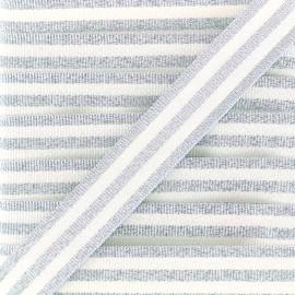 Galon rayures lurex 15 mm - argent/blanc x 1m