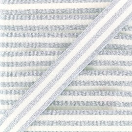 Lurex stripes braid ribbon - silver/white x 1m