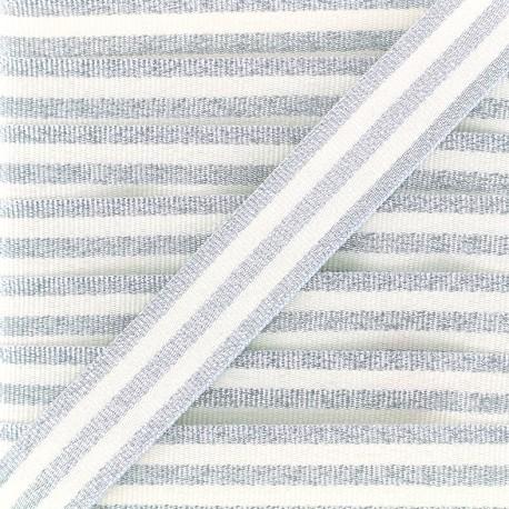 Lurex stripes braid ribbon - silver/white x 1m