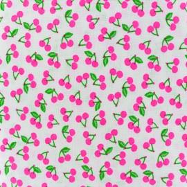 Tissu coton Rico design Cherries - rose fluo x 10cm