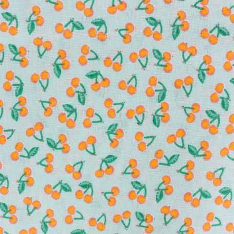 Tissu coton Rico design Cherries - orange fluo x 10cm