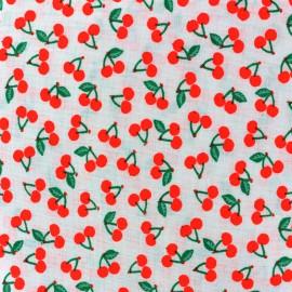 Tissu coton Rico design Cherries - rouge fluo x 10cm