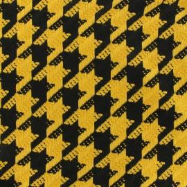 Tissu Lainage pied de coq moutarde x 10cm