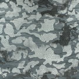 Tissu Velours floqué gris x 10cm