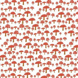 Tissu coton Rico design Champignon - blanc/rouge x 10cm