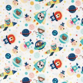 Tissu coton Rico design Animaux dans l'espace - blanc x 10cm