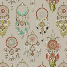 Tissu toile lin Attrape-rêves - multi x 45cm