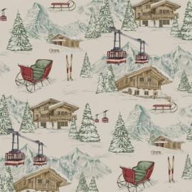 Linen canvas fabric Alpin - linen/red x 45cm