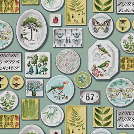 Tissu coton bachette Exposition - jade x 64cm