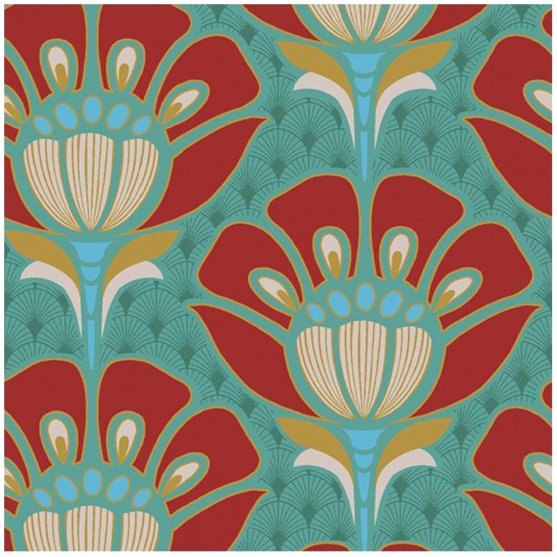Tissu coton bachette fleur art d co vert x 20cm ma - Tissu ameublement art deco ...