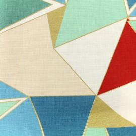 Tissu coton bachette Lalique - vert/rouge x 30cm