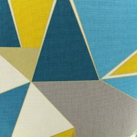 Tissu coton bachette Lalique - bleu/jaune x 30cm