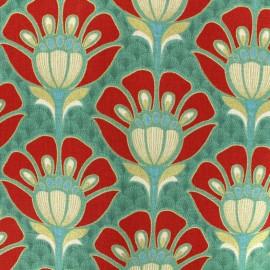 Tissu coton bachette Fleur Art Déco - vert x 20cm