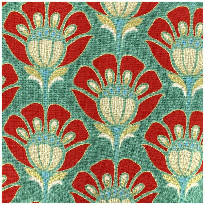 tissu coton bachette fleur art d co vert x 20cm ma petite mercerie. Black Bedroom Furniture Sets. Home Design Ideas