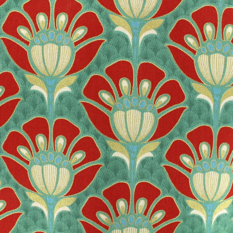 Tissu Coton Bachette Fleur Art Deco Vert X 20cm Ma Petite Mercerie