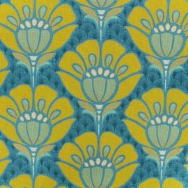 Tissu coton bachette Fleur Art Déco - bleu x 20cm