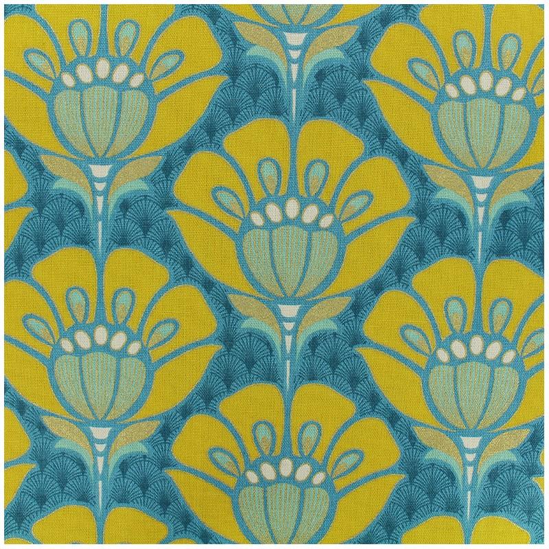 Bachette Cotton Fabric Fleur Art Deco Blue X 20cm Ma Petite Mercerie